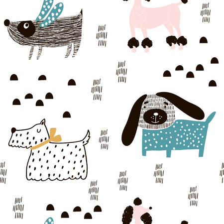 Illustration pour Seamless pattern with cute dogs and hand drawn elements. Creative childish texture. Great for fabric, textile Vector Illustration - image libre de droit