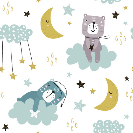 Ilustración de Seamless childish pattern with cute bears on clouds, moon, stars. Creative scandinavian style kids texture for fabric, wrapping, textile, wallpaper, apparel. Vector illustration - Imagen libre de derechos