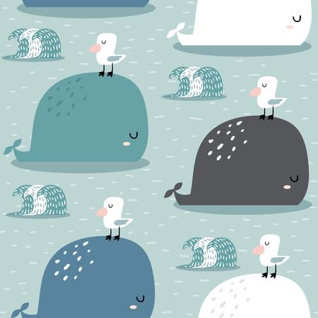 Ilustración de Seamless pattern with whale and gull. Childish texture for fabric, textile,apparel. Vector background - Imagen libre de derechos