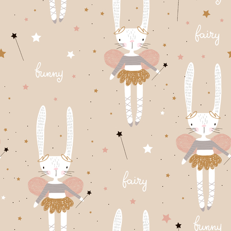 Illustration for Seamless pattern with cute bunny ballerina with wings, stars, magic wand . Creative childish background. Perfect for kids apparel,fabric, textile, nursery decoration,wrapping paper.Vector Illustration - Royalty Free Image