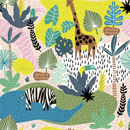 Illustrazione per Seamless pattern with giraffe, zebra,tucan, and tropical landscape. Creative jungle childish texture. Great for fabric, textile Vector Illustration - Immagini Royalty Free