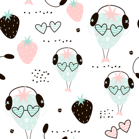 Ilustración de Seamless pattern with creative strawberry charachters. Hand drawn fruits trendy background. Great for fabric and textile. Vector Illustration - Imagen libre de derechos