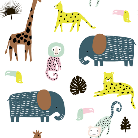 Illustration for Seamless pattern with giraffe, leopard,tucan, elepahant, monkey and tropical elements. Creative jungle childish texture. Great for fabric, textile Vector Illustration - Royalty Free Image