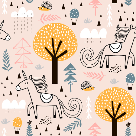 Illustration pour Seamless childish pattern with fairy unicorn, hedgehog in the wood. Creative kids city texture for fabric, wrapping, textile, wallpaper, apparel. Vector illustration - image libre de droit