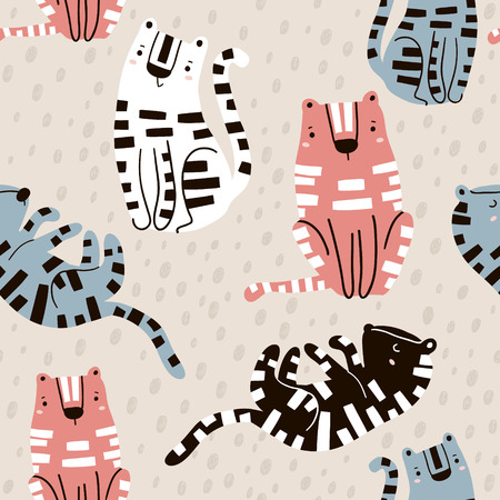 Illustration for Seamless childish pattern with cute tigers in black and white style. Creative kids texture for fabric, wrapping, textile, wallpaper, apparel. Vector illustration - Royalty Free Image