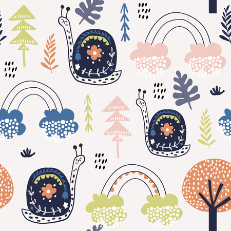 Ilustración de Seamless childish pattern with snails, and rainbows. Creative kids city texture for fabric, wrapping, textile, wallpaper, apparel. Vector illustration - Imagen libre de derechos