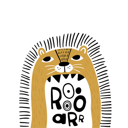 Ilustración de Cute cartoon lion in scandinavian style say Roar. Childish print for nursery, kids apparel,poster, postcard. Vector Illustration - Imagen libre de derechos