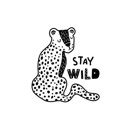 Illustration pour Cute hand drawn leopard in black and white style. Cartoon vector illustration in scandinavian style - image libre de droit