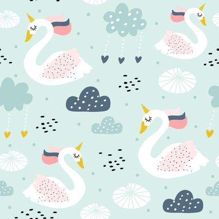 Ilustración de Seamless childish pattern with swan unicorn. Creative nursery texture. Perfect for kids design, fabric, wrapping, wallpaper, textile, apparel - Imagen libre de derechos