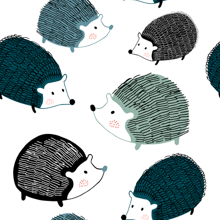 Illustration pour Seamless pattern with ink drawn hedgehogs. Creative scandinavian background. Perfect for kids apparel,fabric, textile, nursery decoration,wrapping paper.Vector Illustration - image libre de droit