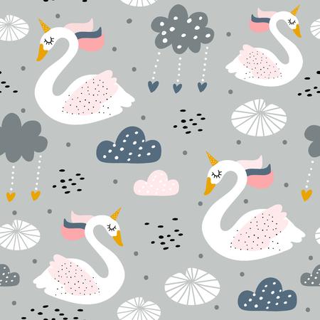 Ilustración de Seamless childish pattern with swan unicorn on gray background Creative nursery texture. Perfect for kids design, fabric, wrapping, wallpaper, textile, apparel - Imagen libre de derechos