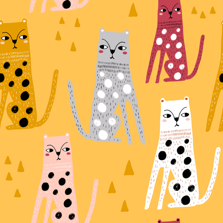 Illustration for Seamless childish pattern with funny leopards. Creative scandinavian kids texture for fabric, wrapping, textile, wallpaper, apparel. Vector illustration - Royalty Free Image