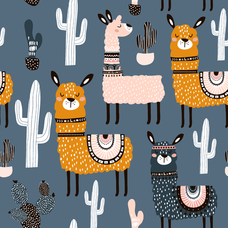 Illustration for Seamless pattern with cute llamas ans cactuses. Creative hand drawn llama childish texture. Great for fabric, textile Vector Illustration - Royalty Free Image