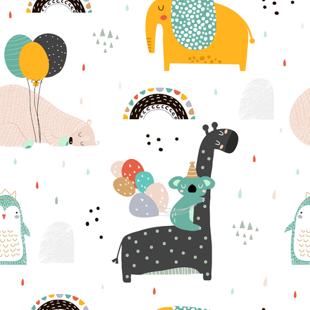 Ilustración de Seamless childish pattern with party animals . Creative scandinavian kids texture for fabric, wrapping, textile, wallpaper, apparel. Vector illustration - Imagen libre de derechos