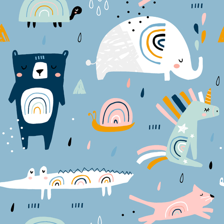 Illustration for Seamless childish pattern with funny rainbow animals . Creative scandinavian kids texture for fabric, wrapping, textile, wallpaper, apparel. Vector illustration - Royalty Free Image