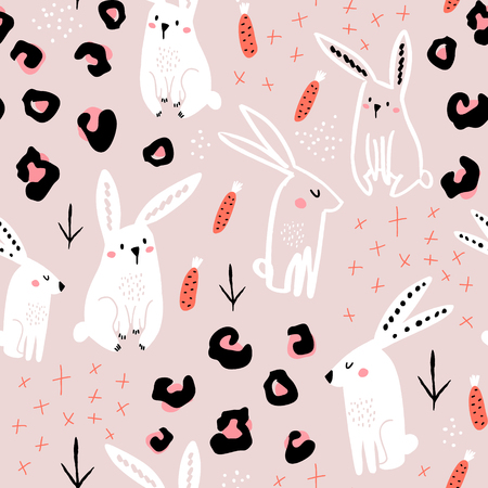 Illustration pour Seamless pattern with cute hand drawn bunny, leopard dots, carrots . Creative jungle childish texture. Great for fabric, textile Vector Illustration - image libre de droit