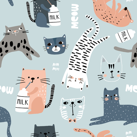 Illustration for Seamless pattern with different funny cats. Creative childish texture. Great for fabric, textile Vector Illustration - Royalty Free Image
