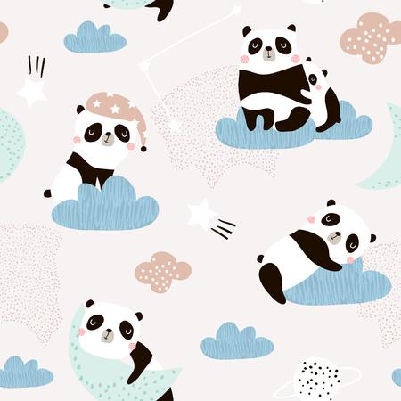 Ilustración de Seamless pattern with cute sleeping pandas, moon, rainbows, clouds. Creative good night background. Perfect for kids apparel,fabric, textile, nursery decoration,wrapping paper.Vector Illustration - Imagen libre de derechos