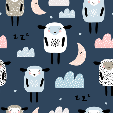 Illustration for Seamless pattern with cute sleeping sheep, moon, clouds. Creative good night background. Perfect for kids apparel,fabric, textile, nursery decoration,wrapping paper.Vector Illustration - Royalty Free Image