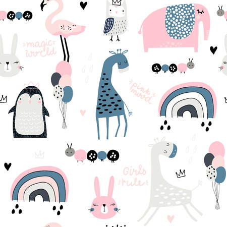Illustration pour Seamless childish pattern with cute giragge, penguin, rainbow, elephant, bunny, flamingo, owl and textures. Creative kids texture for fabric, wrapping, textile, wallpaper, apparel. Vector illustration - image libre de droit