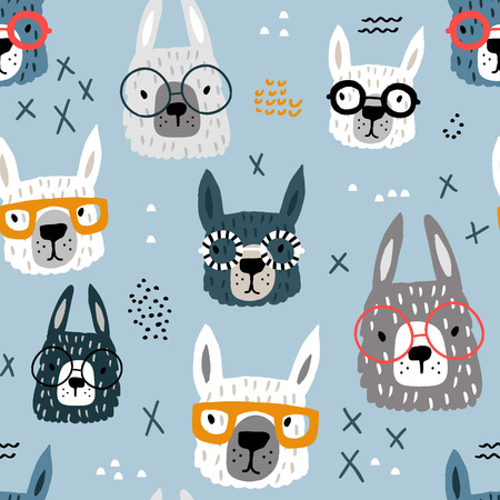 Illustration for Seamless pattern with funny alpaka in glasses. Creative hand drawn llama childish texture. Great for fabric, textile Vector Illustration - Royalty Free Image