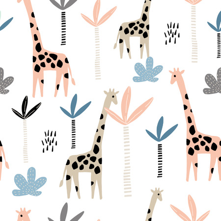 Illustration for Seamless pattern with giraffe and palms tree. Creative jungle childish texture. Great for fabric, textile Vector Illustration - Royalty Free Image
