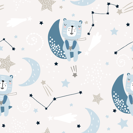 Illustration for Seamless childish pattern with cute bears on clouds, moon, stars. Creative scandinavian style kids texture for fabric, wrapping, textile, wallpaper, apparel. Vector illustration - Royalty Free Image