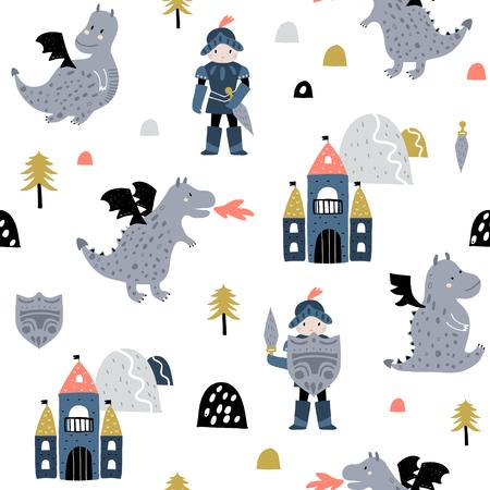 Ilustración de Childish seamless pattern with knight, dragon and castle in scandinavian style. Creative vector childish background for fabric, textile - Imagen libre de derechos