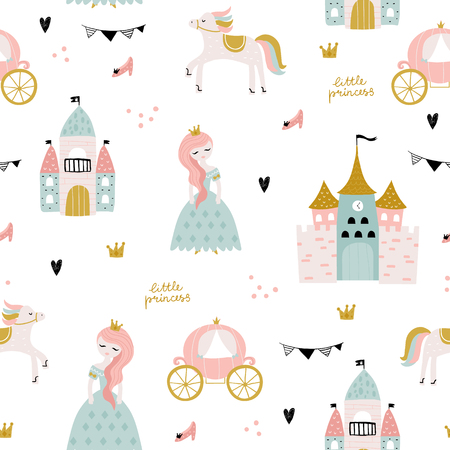Illustration pour Childish seamless pattern with princess, castle, carriage in scandinavian style. Creative vector childish background for fabric, textile - image libre de droit