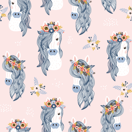 Illustration for Seamless childish pattern with adorable horses . Creative scandinavian kids texture for fabric, wrapping, textile, wallpaper, apparel. Vector illustration - Royalty Free Image