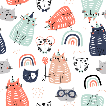 Ilustración de Seamless childish pattern with funny colorful cats and ranbows . Creative scandinavian kids texture for fabric, wrapping, textile, wallpaper, apparel. Vector illustration - Imagen libre de derechos