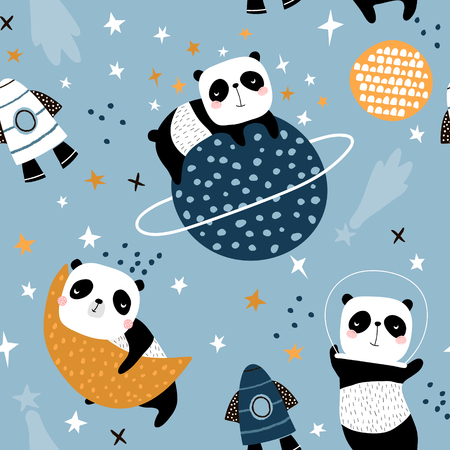 Illustration for Seamless childish pattern with slepping pandas on moons and starry sky. Creative kids texture for fabric, wrapping, textile, wallpaper, apparel. Vector illustration - Royalty Free Image