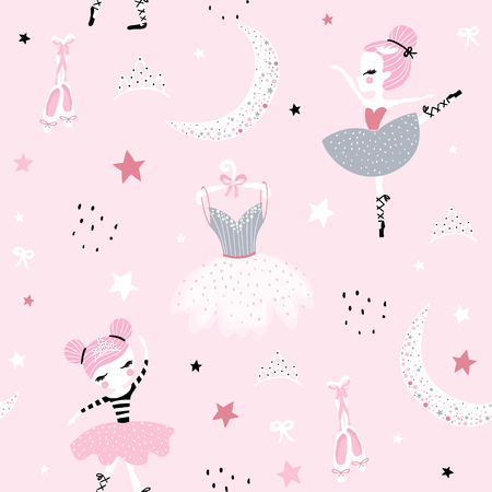 Illustration for Childish seamless pattern with cute hand drawn ballerina dancing on the moon in scandinavian style. Creative vector childish background for fabric, textile - Royalty Free Image