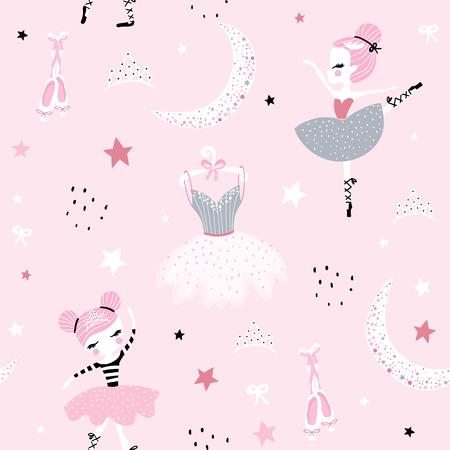 Ilustración de Childish seamless pattern with cute hand drawn ballerina dancing on the moon in scandinavian style. Creative vector childish background for fabric, textile - Imagen libre de derechos