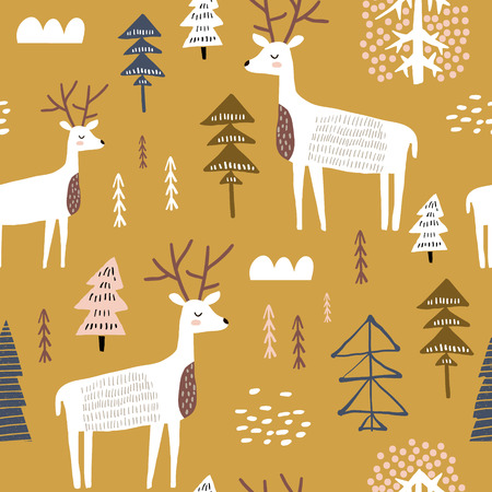 Illustrazione per Childish seamless pattern with dears. Trendy scandinavian holiday vector background. Perfect for kids apparel,fabric, textile, nursery decoration,wrapping paper - Immagini Royalty Free