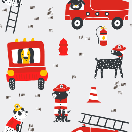 Ilustración de Childish seamless pattern with fire dogs . Trendy scandinavian vector background. Perfect for kids apparel,fabric, textile, nursery decoration,wrapping paper - Imagen libre de derechos