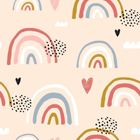 Illustrazione per Seamless childish pattern with hand drawn rainbows and hearts, .Creative scandinavian kids texture for fabric, wrapping, textile, wallpaper, apparel. Vector illustration - Immagini Royalty Free