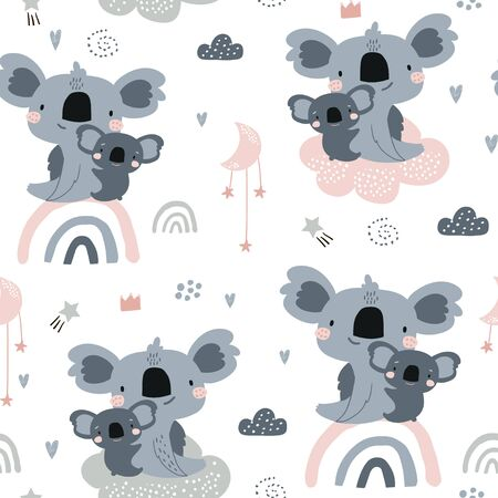 Ilustración de Seamless pattern with cute koala momm with baby on rainbows. Creative childish background. Perfect for kids apparel,fabric, textile, nursery decoration,wrapping paper.Vector Illustration - Imagen libre de derechos