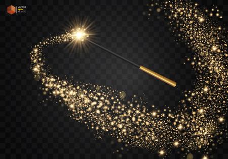 Ilustración de Magic wand with magical sparkle glitter. - Imagen libre de derechos