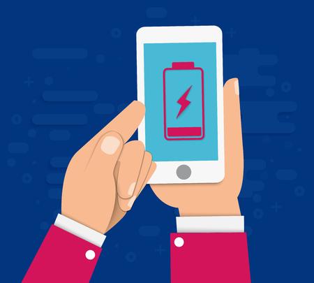 Ilustración de Hand holds a smartphone with a low battery on the screen. Flat vector illustration. EPS10 - Imagen libre de derechos