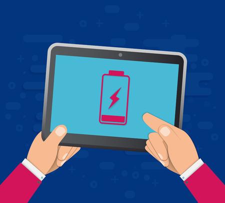 Ilustración de Hand holds a tablet with a low battery on the screen. Flat vector illustration. EPS10 - Imagen libre de derechos