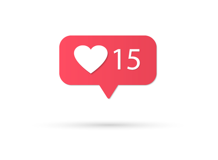 Illustrazione per Counter Notification Icon Instagram. Follower Inst. New Icon like. Social media like insta ui, app, iphone. Vector illustration - Immagini Royalty Free