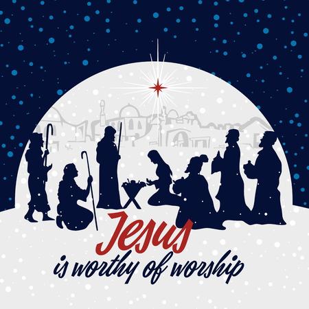 Illustration pour Nativity scene. Christmas. Jesus is worthy of worship. - image libre de droit