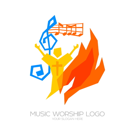 Illustration pour Music Worship icon. Christian symbols. The believer worships Jesus Christ, sings the glory to God - image libre de droit