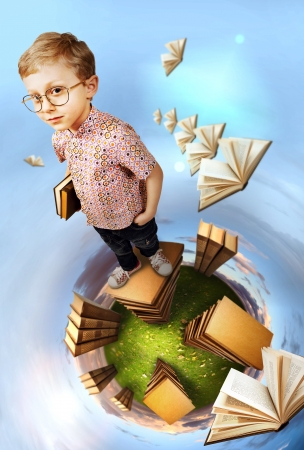 Photo pour Education concept image. Clever boy standing on stack of books at the green planet - image libre de droit