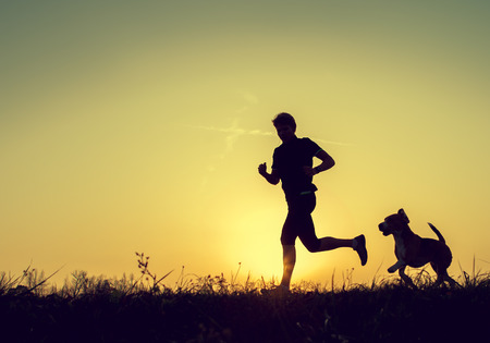 Foto de Evening jogging with beagle pet - Imagen libre de derechos