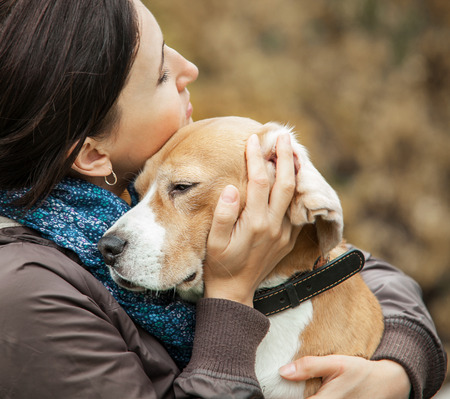 Foto de animal, beagle, beauty, breed, canine, caucasian, cute, dog, ears, emotional, energy, expression, face, female, friend, friendship, girl, happiness, happy, hug, human, kiss, leisure, lifestyle, love, nature, outdoor, owner, park, people, person, pet, play - Imagen libre de derechos