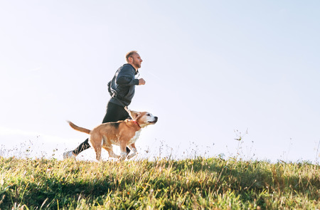 Photo pour Man runs with his beagle dog. Morning Canicross exercise. - image libre de droit