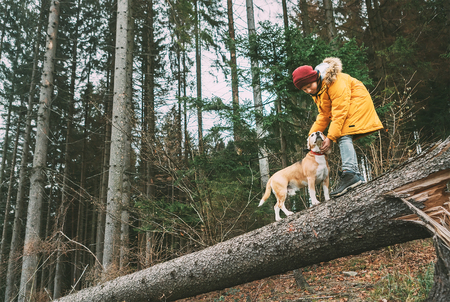 Photo for Boy in bright yellow parka walks with his beagle dog in pine forest on the falling tree - Royalty Free Image