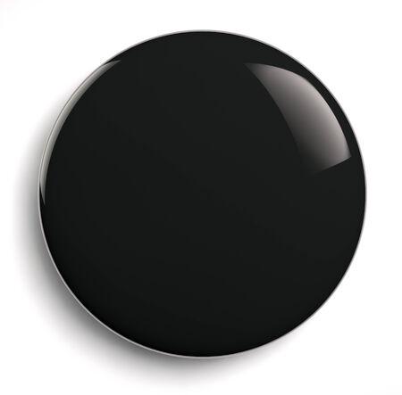Foto de Black badge button isolated on white. - Imagen libre de derechos